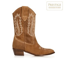 Embroidered suede cowboy boots, camel, 92-D-163-5-38, Photo 1