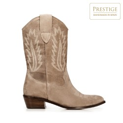 Embroidered suede cowboy boots, beige, 92-D-163-8-38, Photo 1