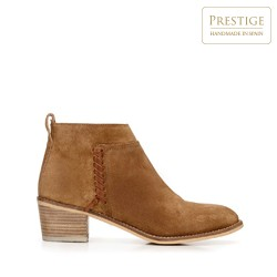 Suede cowboy ankle boots with braided detail, camel, 92-D-152-5-37, Photo 1