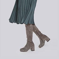 Kozaki zamszowe na słupku z elastyczną cholewką, szary, 93-D-965-8-37, Zdjęcie 1