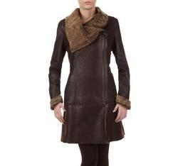 Kożuch damski, brązowy, 79-9-K33-5-2X, Zdjęcie 1