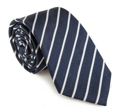 Krawat, granatowo - biały, 85-7K-007-7, Zdjęcie 1