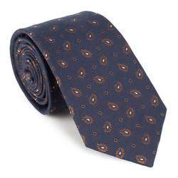 Krawat, granatowo - brązowy, 88-7K-001-X4, Zdjęcie 1