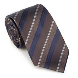 Krawat, brązowo - granatowy, 89-7K-001-X12, Zdjęcie 1
