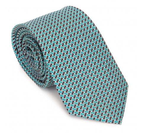 Krawat z jedwabiu wzorzysty, zielono - czarny, 91-7K-001-X3, Zdjęcie 1