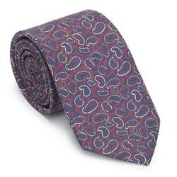 Krawat z jedwabiu wzorzysty, bordowo - granatowy, 91-7K-001-X3, Zdjęcie 1