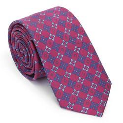 Krawat z jedwabiu wzorzysty, czerwono - granatowy, 91-7K-001-X5, Zdjęcie 1