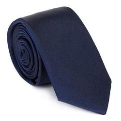 Krawat jedwabny bez wzoru, granatowy, 92-7K-001-N2, Zdjęcie 1