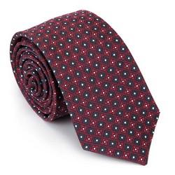 Krawat jedwabny wzorzysty, bordowo - granatowy, 92-7K-001-X1, Zdjęcie 1