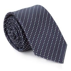 Krawat jedwabny wzorzysty, granatowo - biały, 92-7K-001-X2, Zdjęcie 1