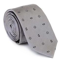 Krawat jedwabny wzorzysty, srebrny, 92-7K-001-X3, Zdjęcie 1