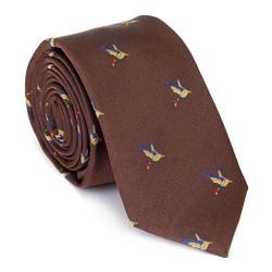 Krawat jedwabny wzorzysty, brązowo - złoty, 92-7K-001-X4, Zdjęcie 1