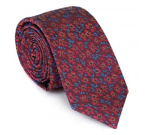 Krawat jedwabny wzorzysty, czerwono - niebieski, 92-7K-001-X3, Zdjęcie 1