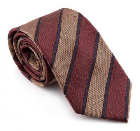 Krawat, bordowo - beżowy, KR-7-006-100, Zdjęcie 2
