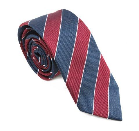 Krawat, brązowo - granatowy, 83-7K-002-X01, Zdjęcie 2
