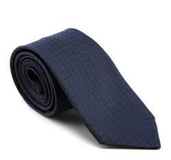 Krawat, granatowo - czarny, 81-7K-001-9, Zdjęcie 1