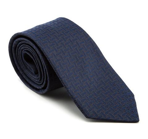 Krawat, granatowo - czarny, 81-7K-001-9, Zdjęcie 2