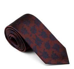 Krawat, brązowo - granatowy, 81-7K-002-4, Zdjęcie 1