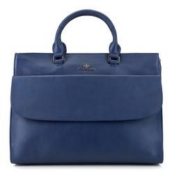 Kuferek skórzany na laptopa o klasycznym kroju, niebieski, 91-4E-311-7, Zdjęcie 1