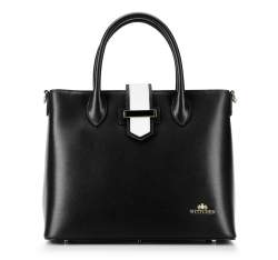 Leather tote bag with buckle strap, black, 92-4E-609-10, Photo 1