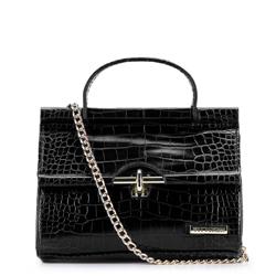 Crocodile-embossed mini tote bag, black, 92-4Y-211-1, Photo 1