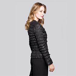 Damska kurtka pikowana i marszczona, czarny, 92-9N-402-1-M, Zdjęcie 1