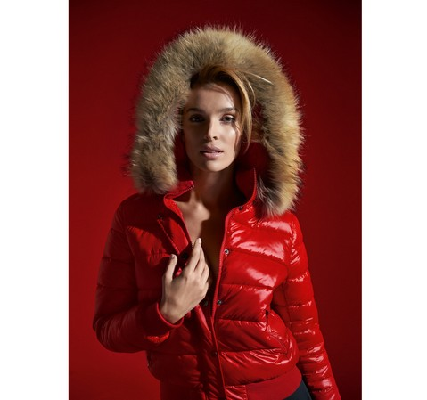 Kurtka damska, czerwony, 85-9D-307-3-S, Zdjęcie 1