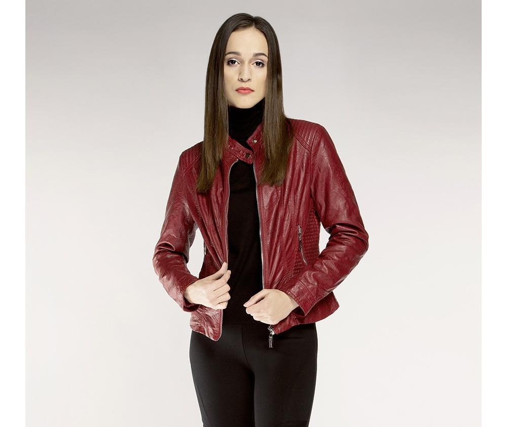 Куртка женская Wittchen 85-9P-301-2, бордовыйКуртка женская<br><br>секс: женщина<br>Цвет: красный<br>Размер INT: XXL<br>материал:: Екокожа<br>подкладка:: полиэстр<br>примерная общая длина (см):: 55