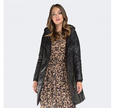 Płaszcz damski, czarny, 87-09-205-1-S, Zdjęcie 1