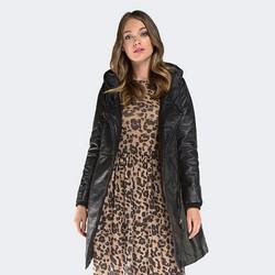 Płaszcz damski, czarny, 87-09-205-1-XL, Zdjęcie 1
