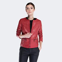 Kurtka damska, czerwony, 88-09-205-3-M, Zdjęcie 1