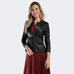 Damska kurtka skórzana klasyczna, czarny, 90-09-200-1-3XL, Zdjęcie 1