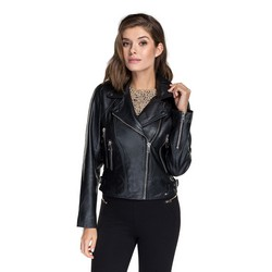Women's leather biker jacket, black, 91-09-700-1-M, Photo 1