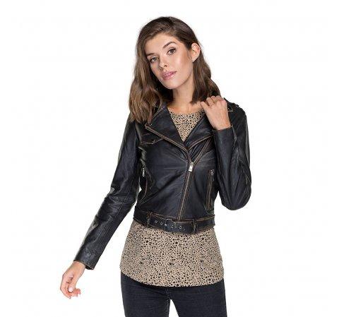 Женская кожаная куртка с эффектом потертости 91-09-701-4