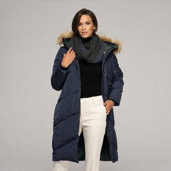 Women's down coat with snood, navy blue, 91-9D-402-7-M, Photo 1