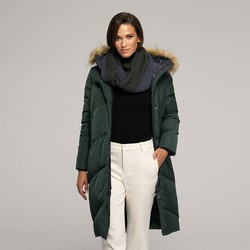 Women's down coat with snood, green, 91-9D-402-Z-S, Photo 1