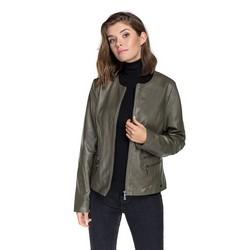 Women's racer jacket made from sheepskin leather, khaki green, 92-09-800-Z-XL, Photo 1