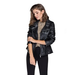 Women's leather biker jacket, black, 92-09-801-1-XS, Photo 1