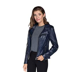 Women's leather biker jacket, navy blue, 92-09-801-7-L, Photo 1
