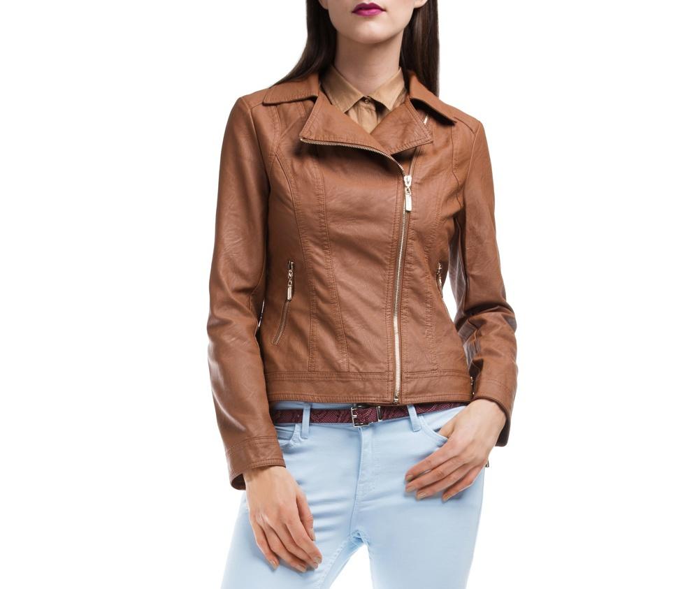 Куртка ЖенскаяКуртка изготовлена ??из высококачественных материалов, которые обеспечивают комфорт. Модель на застегивается с помощью молнии, со стоячим воротником. Имеет два внешних кармана на молнии. Интересные швы на плечах и локтях добавляют неповторимый акцент.<br><br>секс: женщина<br>Цвет: коричневый<br>Размер INT: S