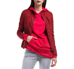 Kurtka damska, czerwony, 84-9P-107-2-XL, Zdjęcie 1