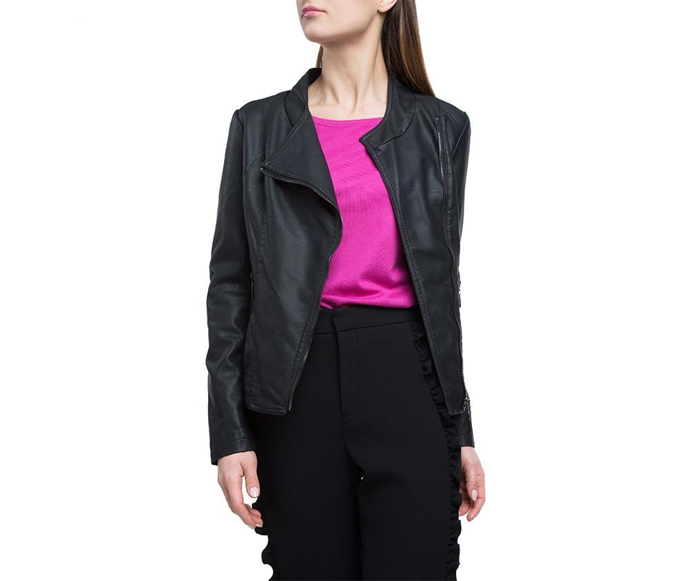 Куртка женскаяКуртка типа рамонеска, изготовленная из высококачественных материалов. Модель на молнии с широким воротником. Классический стиль для каждой девушки.<br><br>секс: женщина<br>Цвет: черный<br>Размер INT: XL<br>материал:: Полиуретан<br>подкладка:: полиэстер<br>примерная общая длина (см):: 60