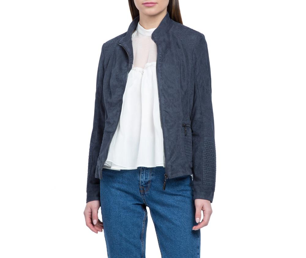 Куртка женскаяКуртка изготовлена ??из высококачественных материалов, которые обеспечивают комфорт. Модель на застегивается с помощью молнии, со стоячим воротником. Имеет два внешних кармана на молнии. Интересные швы на плечах и локтях добаляют неповторимый акцент.<br><br>секс: женщина<br>Цвет: синий<br>Размер INT: L<br>материал:: Полиэстер<br>подкладка:: полиэстер<br>примерная общая длина (см):: 55