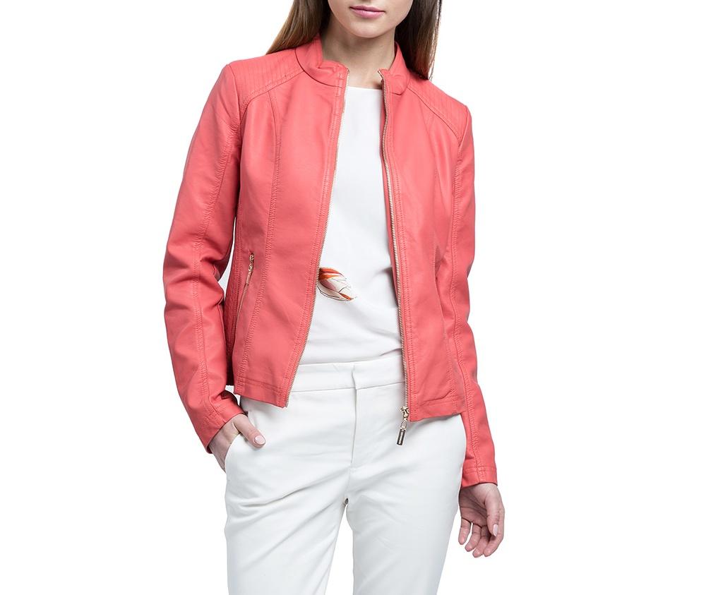 Куртка женскаяКуртка изготовлена ??из высококачественных материалов, которые обеспечивают комфорт. Модель на застегивается с помощью молнии, со стоячим воротником. Имеет два внешних кармана на молнии. Интересные швы на плечах и локтях добаляют неповторимый акцент.<br><br>секс: женщина<br>Цвет: розовый<br>Размер INT: L<br>материал:: Полиуретан<br>подкладка:: полиэстер<br>примерная общая длина (см):: 55