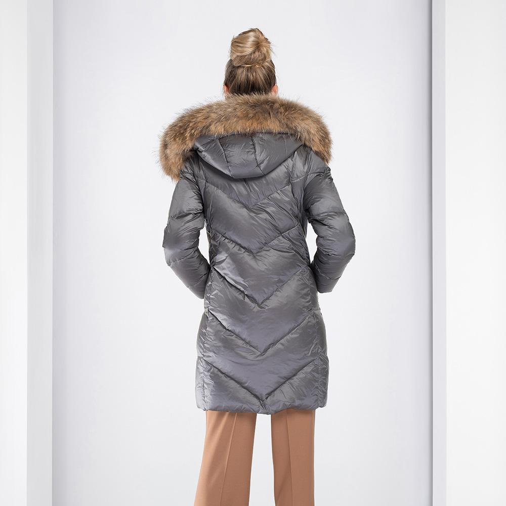 kurtka zimowa damska ze skosnym zasuwakiem
