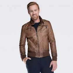 Men's jacket, brown, 87-9P-150-5-M, Photo 1