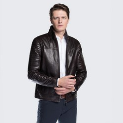 Men's jacket, dark brown, 88-09-250-4-S, Photo 1