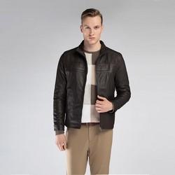 Męska kurtka skórzana z przeszyciami, ciemny brąz, 90-09-250-4-M, Zdjęcie 1