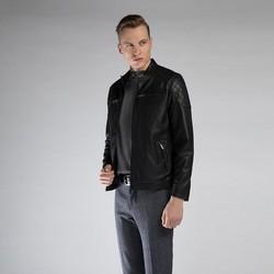Męska kurtka skórzana z pikowaniem, czarny, 90-09-251-1-L, Zdjęcie 1