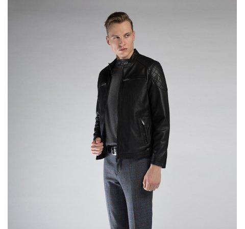 Męska kurtka skórzana z pikowaniem, czarny, 90-09-251-1-M, Zdjęcie 1